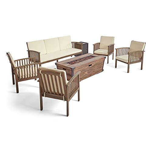 Great Deal Furniture Martha Marjory Outdoor 5 Piece Acacia Wood Conversational Set with Cushions and Fire Pit, Gray with Cream and Brown