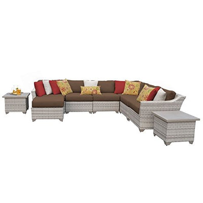 TK Classics FAIRMONT-09c-COCOA 9 Piece Outdoor Wicker Patio Furniture Set, Cocoa