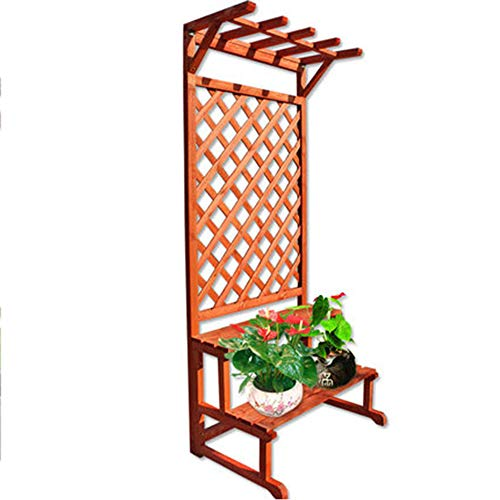 QFFL huajia Flower Stand, Multi-Layer Solid Wood Floor-Standing Flower Stand, Outdoor Hanging Plant Stand, Outdoor Balcony Flower Stand, 2 Colors Optional (Color : A)