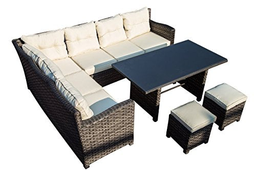14th Mobility 5-Piece Outdoor Patio Sectional Conversation Set, Sturdy Aluminum Frame and PE Wicker Construction