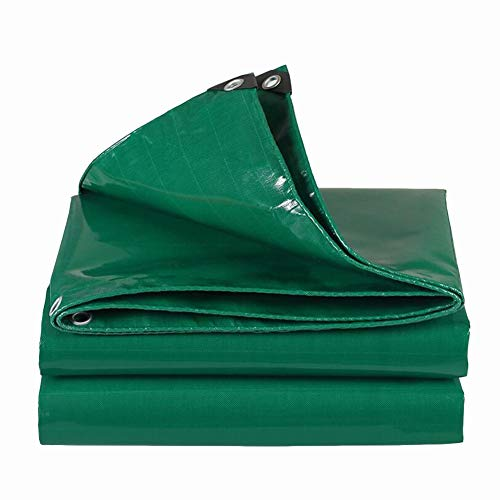 Dall Tarpaulin Multipurpose Rain Cover Waterproof Sunscreen Metal Buttonhole Tear Resistance Thickness 0.47mm (Color : Green, Size : 6×8m)