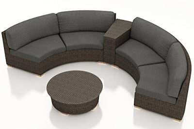 Harmonia Living HL-ARD-CH-4CSEC-CC 4 Piece Arden Curved Sectional Set, Canvas Charcoal Cushions