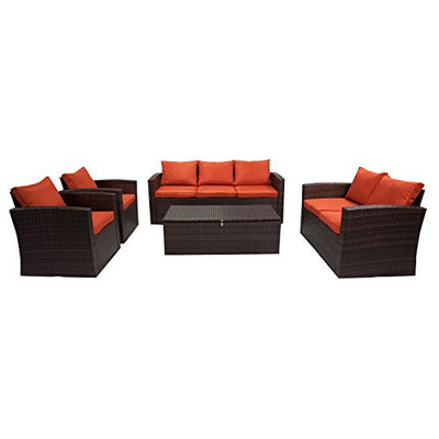 Carabelle BAS2614DBOR 5 Piece Rio Outdoor Patio Set, Red