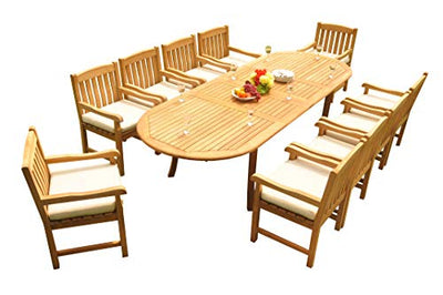 "13-pc Outdoor Teak Dining Set: 117"" Oval Extension Table & 12 Devon Arm Chairs"
