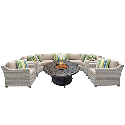 TK Classics FAIRMONT-08i-WHEAT 8 Piece Outdoor Wicker Patio Furniture Set, Wheat