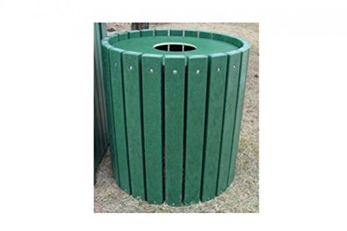 "Jayhawk Plastics Heavy-Duty Round 32 Gallon Trash Receptacle Made With Twenty-Four 2"" X 4"" Recycled Plastic Slats - Green"