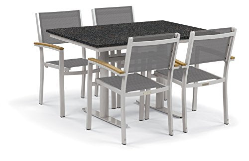 "Oxford Garden Travira 5-Piece Bistro Set with 34""x48"" Table - Steel - Lite-Core Charcoal - Titanium Sling - Tekwood Natural"