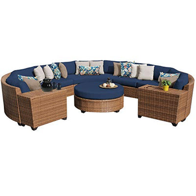 TK Classics LAGUNA-08b-NAVY Laguna 8Piece Outdoor Wicker Patio Furniture Set, Navy
