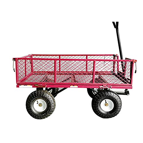 Hand Trucks DIOE Four-Wheeled Freight Cart with Fence, Tiger Car, Inflatable Shock Wheel, Garden Net Car, Detachable Outer Frame, Front Wheel Variable Direction