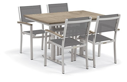 "Oxford Garden Travira 5-Piece Bistro Set with 34""x48"" Table - Powder Coated Steel - Titanium Sling - Tekwood Vintage"