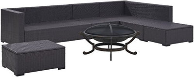 Crosley Furniture KO70120BR-MO Biscayne 6-Piece Outdoor Wicker Seating Set with Ashland Firepit, Brown with Mocha Cushions