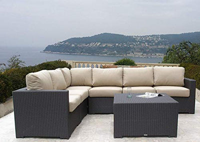 kingrattan.com Outdoor Woven Wicker Sectional 7 Piece Set Choice of Sunbrella Cushions