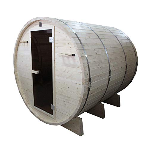 ALEKO SB6PINE White Pine Indoor Outdoor Wet Dry Barrel Sauna with 6 kW ETL Certified Heater 6 Person 83 x 72 x 75 Inches