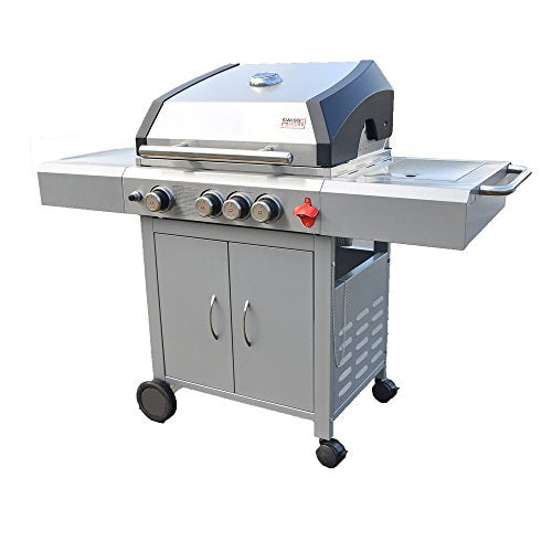 Swiss Grill A3 51,000-BTU Arosa 3-Built with Tubular Burners and Grizzler Side Burner, Stainless Steel