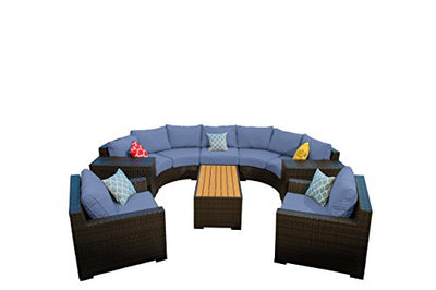 Vida Outdoor VD-PACIFIC-2CV2ET2CC1AS1CT-DENIM Pacific 8 Piece Curved Wicker Sectional Set-Denim Chair