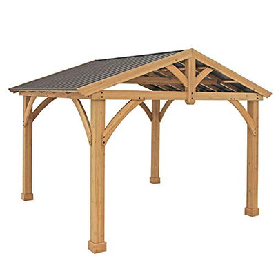 Yardistry 11' x 13' Wood Pavilion with Aluminum Roof