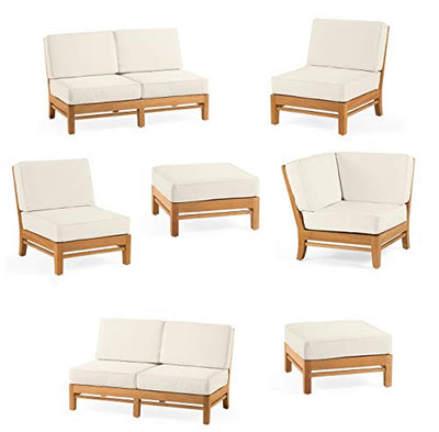 WholesaleTeak Grade-A Teak Wood Ramled Sectional 7 Pcs Sofa Set - 2 Love Seats (Left/Right), 1 Corner Pc, 2 Armless Lounge Chairs, 1 Ottoman & 1 Side Table (Furniture only) #12RM7
