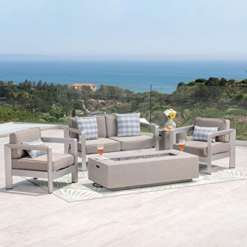 Christopher Knight Home Aviara Outdoor 4-Seater Aluminum Chat Set with Fire Pit and Tank Holder by Silver + Light Gray + Khaki Cushion