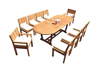 "WholesaleTeakFurniture Grade-A Teak Wood 10 Seater 11 Pc Dining Set: 94"" Mas Oval Trestle Leg Table and 10 Veranda Chairs (2 Arm & 8 Armless Chairs) #21VR1311"