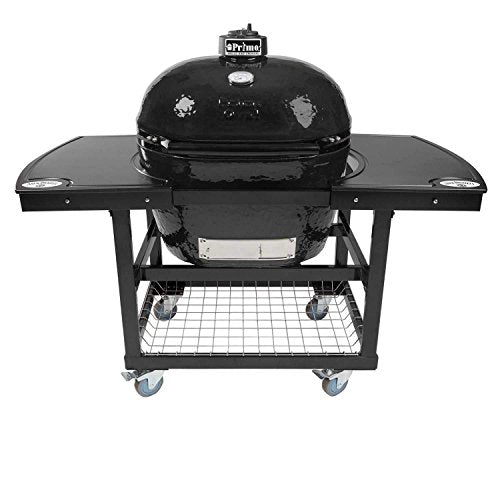 Primo Oval XL 400 Ceramic Smoker Grill On Cart with 2-Piece Jack Daniel's Island Top