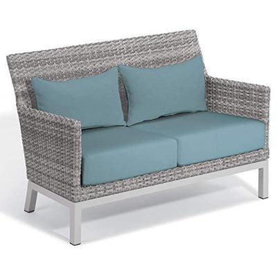 Oxford Garden Argento 6-Piece Resin Wicker Lounge & Travira Tekwood Vintage Table Set - Ice Blue Cushion & Pillow