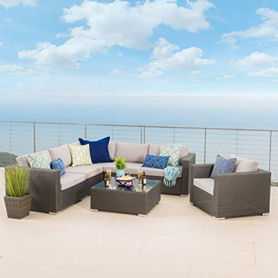 Christopher Knight Home Santa Rosa Outdoor 7-Piece Wicker Seating Sectional Set with Cushions Gray + Sunbrella Canvas Teal