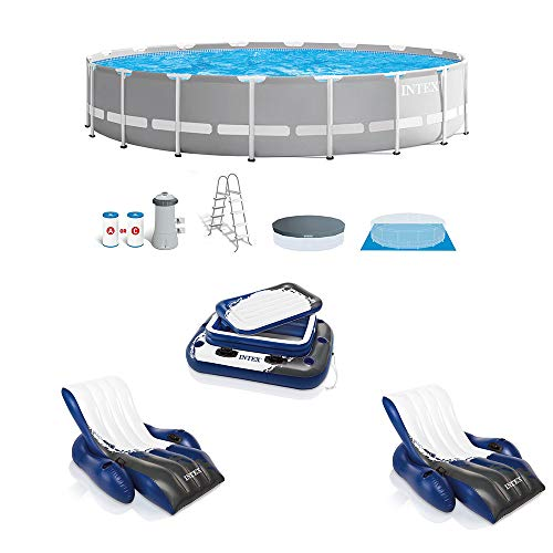 Intex 18ft x 42in Prism Above Ground Pool, Inflatable Loungers (2 Pack) & Cooler
