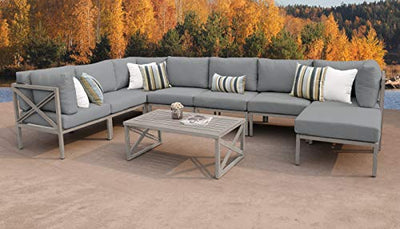TK Classics CARLISLE-09b-GREY Carlisle 9 Piece Outdoor Wicker Patio Furniture Set 09b, Grey