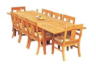 "WholesaleTeakFurniture Grade-A Teak Wood 8 Seater 9 Pc Dining Set: 122"" Atnas Double Extension Rectangle Table and 8 Osborne Arm Chairs #21OS1809"