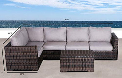 No Assembly Required | Cabana Collection Outdoor Wicker Patio Furniture Sectional Conversation Sofa Set for Backyard, Porch or Pool | No Assembly Required (6 Piece Sectional Conversation Set, Brown)