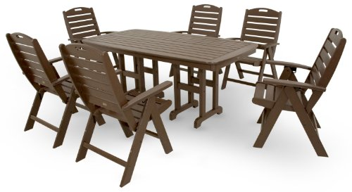 Trex Outdoor Furniture by Polywood 7-Piece Yacht Club Highback Dining Set, Vintage Lantern