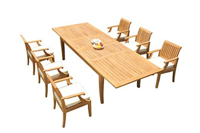 "WholesaleTeakFurniture Grade-A Teak Wood 6 Seater 7 Pc Dining Set: 122"" Atnas Double Extension Rectangle Table and 6 Lagos Arm Chairs #21LG1807"