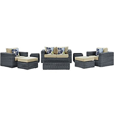 Modern Contemporary Urban Design Outdoor Patio Balcony Eight PCS Sectional Sofa Set, Beige, Rattan