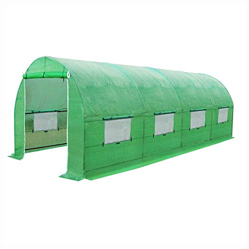 HEATAPPLY Large 10 x 20 Ft Garden Green House Kit with Green PE Cover, Large 10 x 20 Ft Garden Greenhouse Kit with Green PE Cover