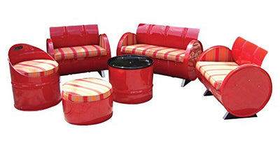 Drum Works Furniture Salsa Steel 6 Piece Patio Conversation Set
