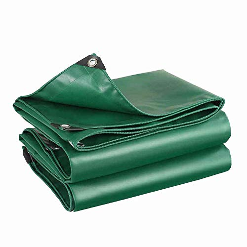 Dall Tarpaulin Heavy Duty Rain Cloth Double Sided Waterproof Sunscreen Protective Cover Wear Resistant 650 G/m² Multiple Sizes (Color : Green, Size : 6×7m)