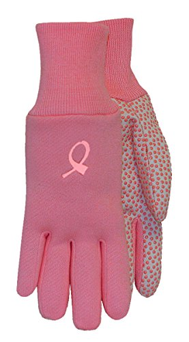 Midwest Gloves CA522D4-EA-AZ-1 Hope Jersey Cotton Canvas with PVC Dots (144 Pair Pack), Large, Pink/White