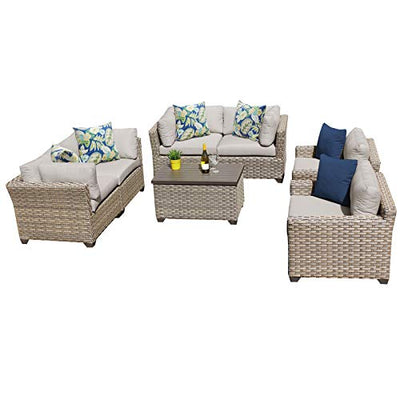 TK Classics Monterey 7 Piece Outdoor Wicker Patio Furniture Set 07c, Beige