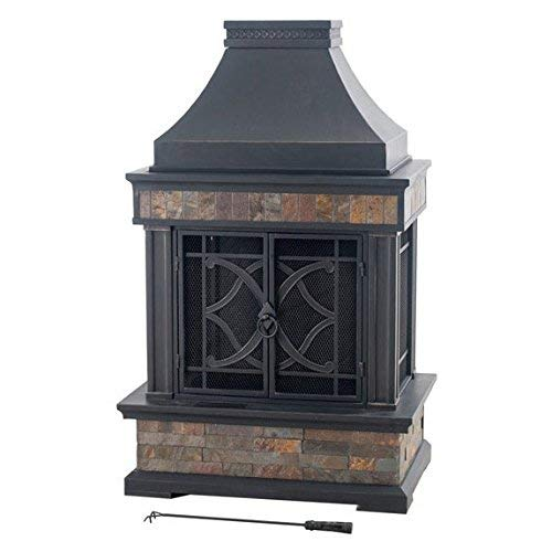 Sunjoy Heirloom Steel Wood Burning Outdoor Fireplace