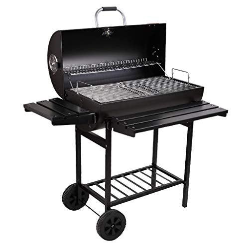 Charcoal Grills Household Outdoor Large Grill Wheeled Grill Courtyard Villa Grill Multi-Purpose Grill Suitable for 5-15 People (Color : Black, Size : 10580cm)