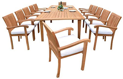 "13 PC A Grade Outdoor Patio Teak Dining Furniture Set - 122"" Double Extension Caranas Table & 12 Naples Stacking Arm Chairs"