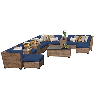 TK Classics Laguna 14 Piece Outdoor Wicker Patio Furniture Set, Navy