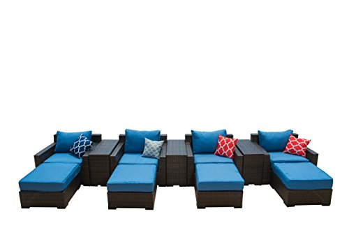 Vida Outdoor VD-PACIFIC-4CC-DENIM Pacific 4 Piece Wicker Chat Set-Denim Chair