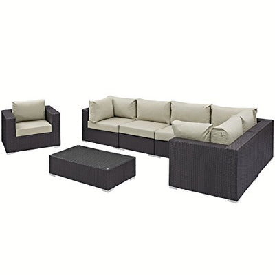 Modway Convene Wicker Rattan 7-Piece Outdoor Patio Sectional Sofa Furniture Set in Espresso Beige
