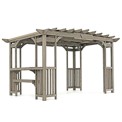 MM Cedar Pergola Gazebo with Bar Counter and Sunshade in Timber Gray Stain 12' x 8'