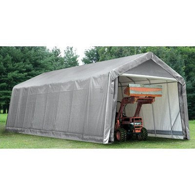 14' Peak Style Shelter Size/Color: 14' W x 24' L x 12' H in Green