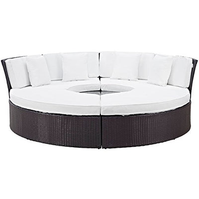 Modern Contemporary Urban Design Outdoor Patio Balcony Round Daybed Sofa Set, White, Rattan