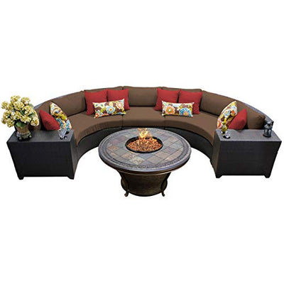 TK Classics BARBADOS-06h-COCOA Barbados 6Piece Outdoor Wicker Patio Furniture Set, Cocoa