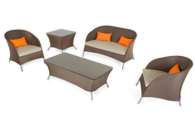 Limari Home The Penelope Collection Complete Modern Aluminum Frame Outdoor Patio Lounge Sofa Set, Brown