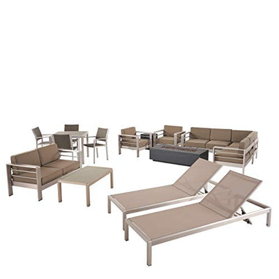 Julia Outdoor Estate Collection with Fire Pit - 4-Seat Dining Set, 3-Piece Sectional Sofa Set, 2 Club Chairs, 2 Chaise Lounges, Loveseat, Coffee Table - Aluminum - Silver, Gray, Khaki, Dark Gray